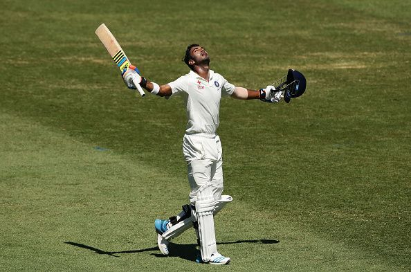 KL Rahul celebrates his maiden hundred