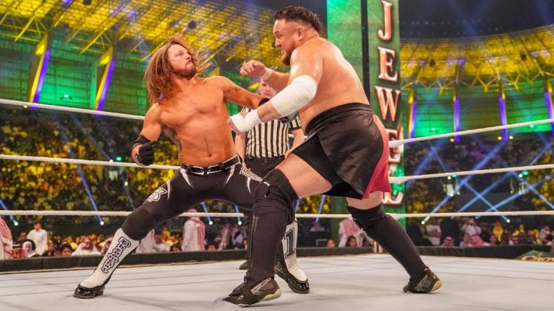 Styles in action last year against Samoa Joe