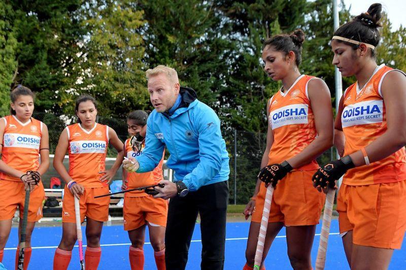 Chief Coach Sjoerd Marijne with the Indian Women
