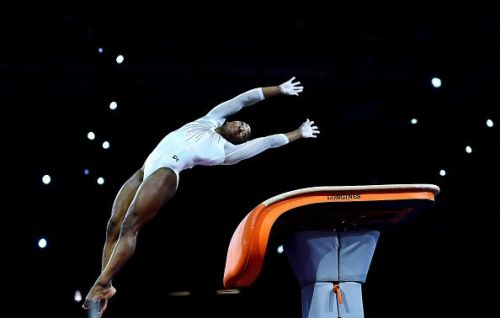 Biles in action on day eight of the Championships.