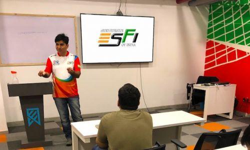 Lokesh Suji - Director, ESFI speaks to the students at GISB