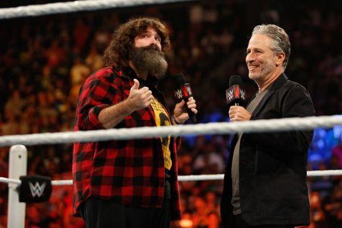 Mick Foley with Jon Stewart at WWE SummerSlam 2015
