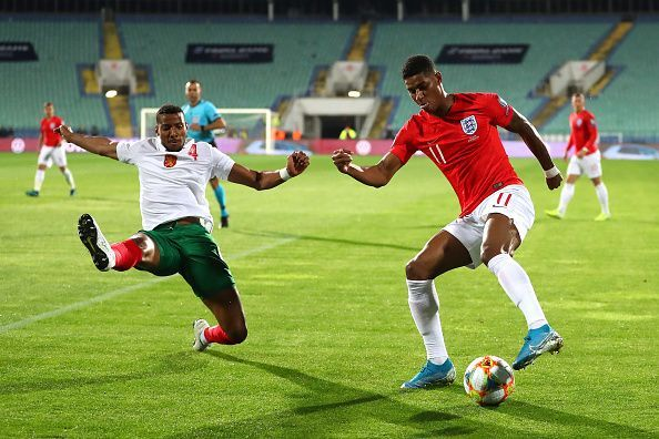 Marcus Rashford in action for England.