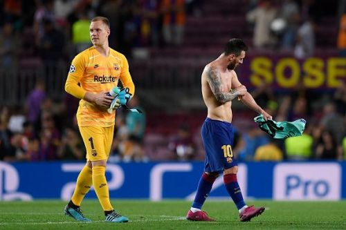 ter Stegen (L) produced a magnificent save in the first half