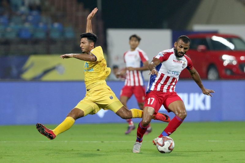 Pranoy Halder (R) had a poor outing for ATK