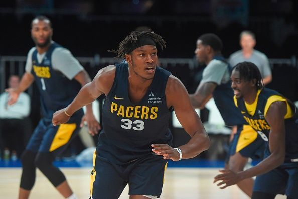 Myles Turner during the practice session ahead of the NBA India Games 2019