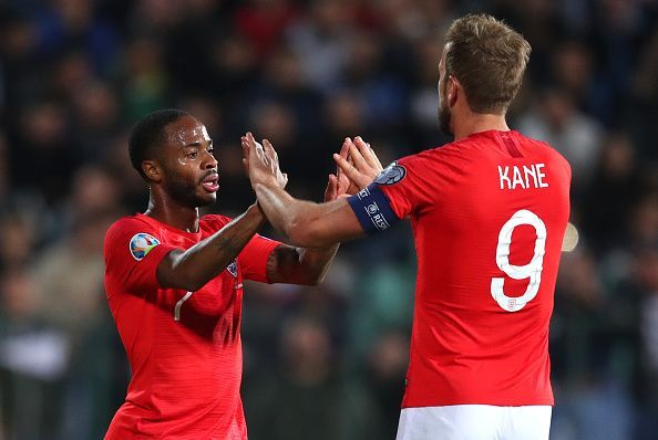 Raheem Sterling and Harry Kane celebrate, both made it onto the teamsheet in the end