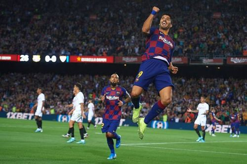 Suarez was on target to get Barcelona rolling against Sevilla