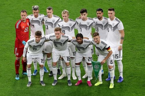 The Germans lineup before kickoff