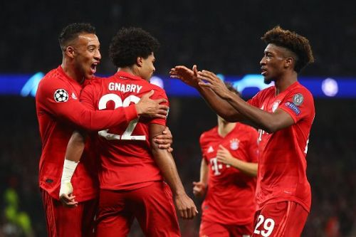Bayern players celebrate with Gnabry during their 7-2 thrashing vs. Tottenham in their UCL Group B game