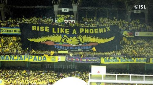 The fans of the Kerala Blasters with a fantastic banner during the first home match against ATK (Credits: ISL)