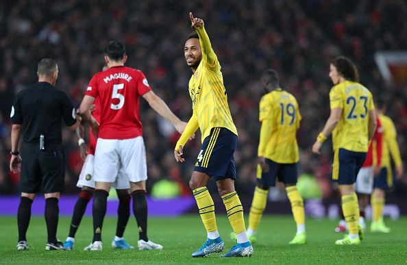 Aubameyang celebrates his seventh league goal of 2019/20, as Arsenal drew 1-1 with Manchester United