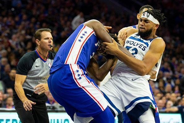 Joel Embiid and Karl-Anthony Towns got into a heated scuffle at the Wells Fargo Center on 30th October