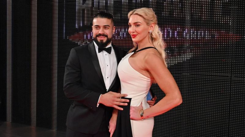 Andrade and Charlotte Flair