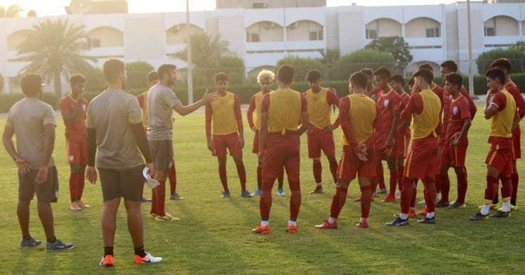 The Indian U19 camp training.