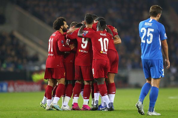 The Reds celebrating their lead over Genk in Belgium.