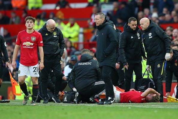 Manchester United v Brighton & Hove Albion - EPL - McTominay on the ground