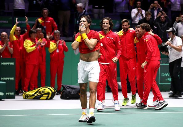 A jubilant Team Spain after the victory