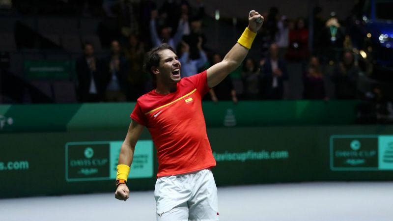 Rafael Nadal celebrates Spain