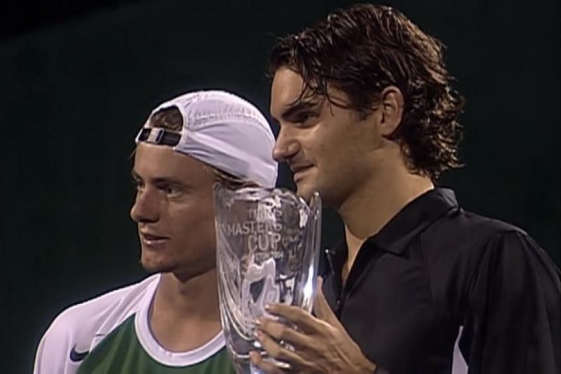 Roger Federer beat Lleyton Hewitt to win the 2004 ATP Finals in Houston