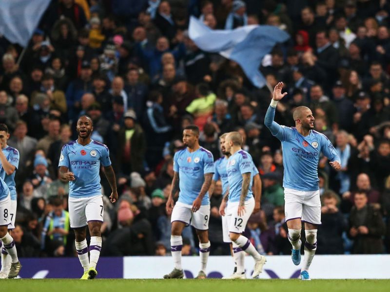 Kyle Walker celebrates his late winner against Southampton as Manchester City came from behind to win