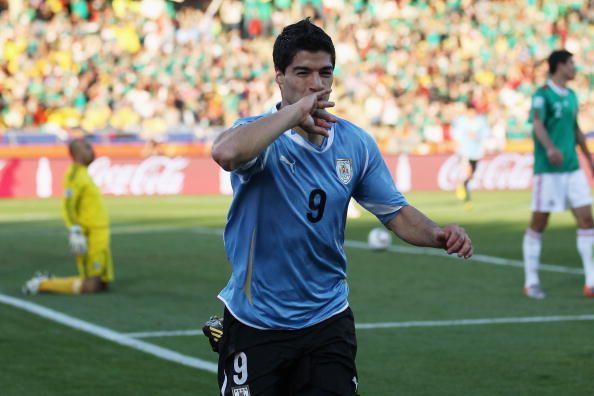 Suarez celebrates his goals in his unique style