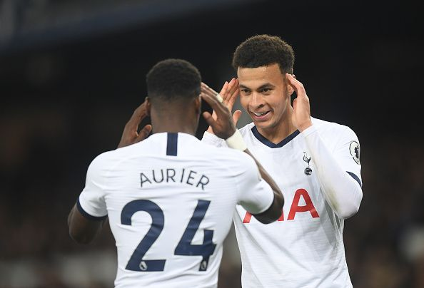 Serge Aurier and Delle Alli celebrate the Spurs opener