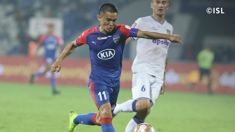 Sunil Chhetri got his first goal of the season. Photo Credits: indiansuperleague.com