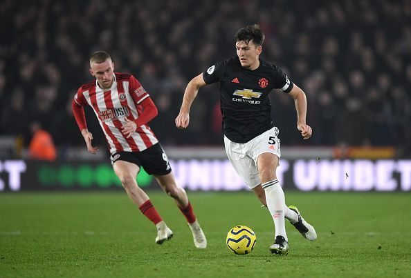 Harry Maguire was tested plenty by the Sheffield United forwards