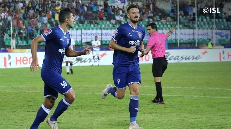 Nerijus Valskis (right) scored both of Chennaiyin