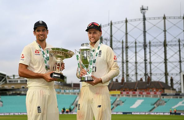 Alastair Cook (left)