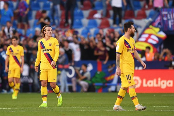 Barcelona lost their third away game this season.