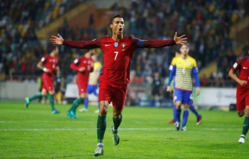 Ronaldo rejoices after scoring one of his 4 goals against Andorra.