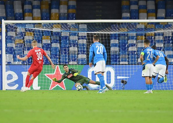 Erling Braut HÃ¥land scoring against Napoli in the Champions League