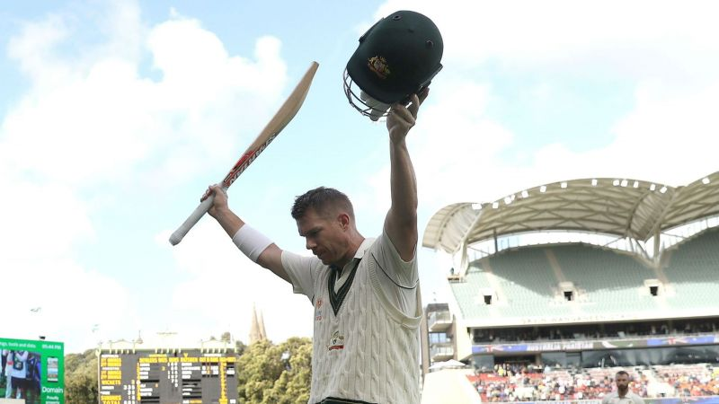David Warner leaves the field after scoring 335 not out against Pakistan