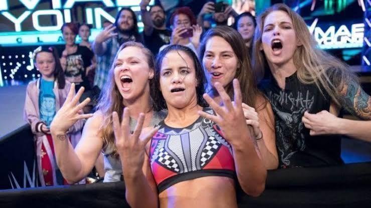 Shayna Baszler with Ronda Rousey, Marina Shafir, and Jessamyn Duke