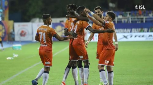 Goa players celebrate. Image courtesy: ISL