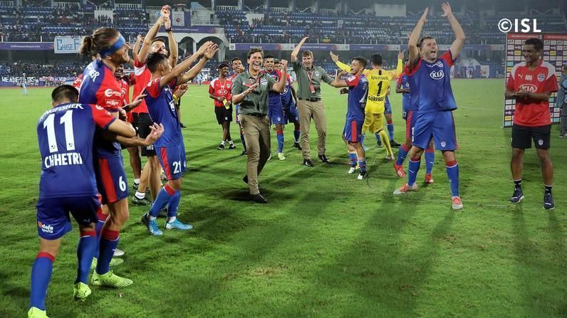 Bengaluru FC players celebrate after beating Chennaiyin FC. Photo Credits: indiansuperleague.com