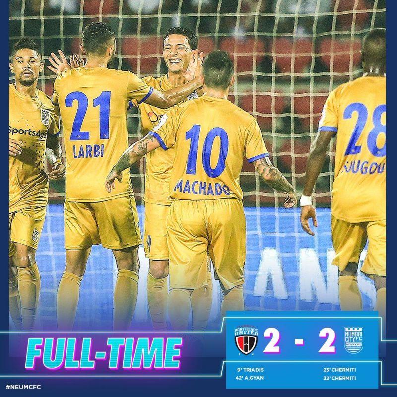 Mumbai drew 2-2 with NorthEast United