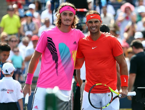 Stefanos Tsitsipas(L) and Rafael Nadal before Rogers Cup 2018 final