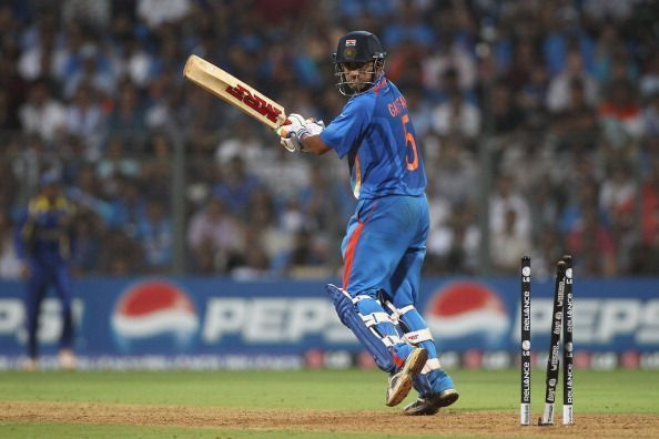 Gautam Gambhir gets bowled for 97 in the 2011 World Cup final