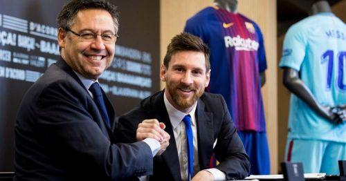 Barcelona president Bartomeuwith Lionel Messi