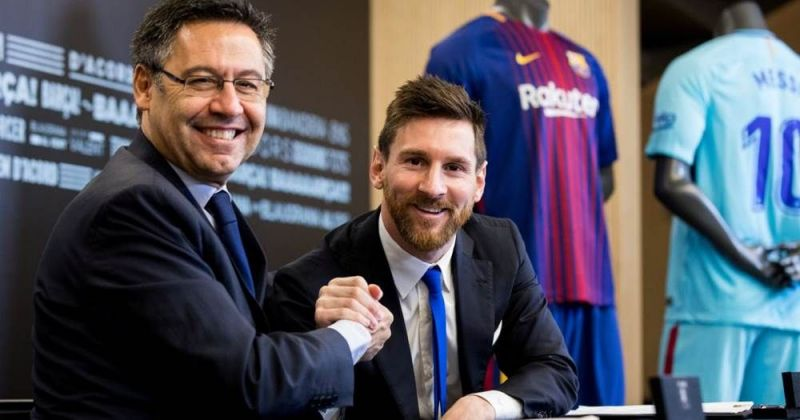 Barcelona president Bartomeu with Lionel Messi