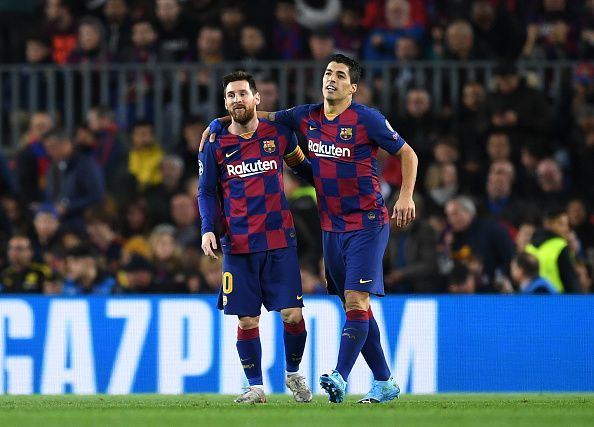 Suarez and Messi scored a goal each in the first half