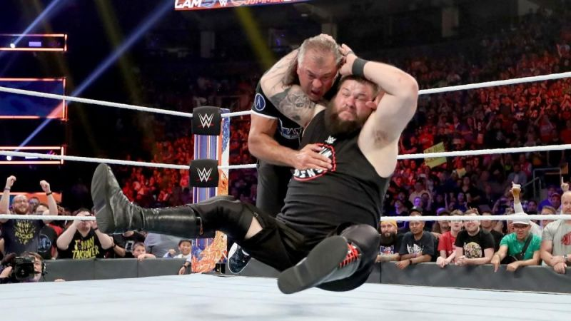 Owens hitting Shane McMahon with a Stunner