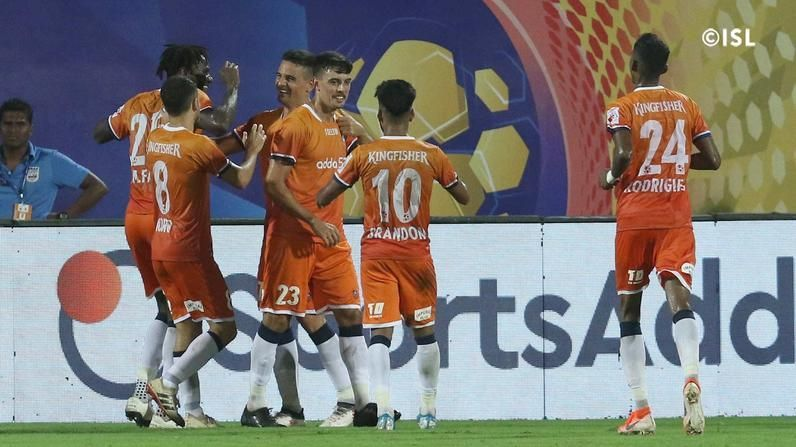 FC Goa player celebrate after scoring a goal (Image courtesy: ISL)
