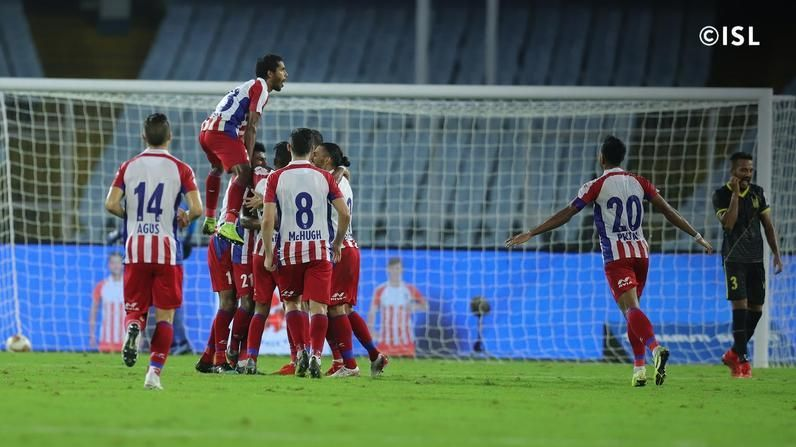 ATK celebrating a goal against Hyderabad FC (Photo: ISL)