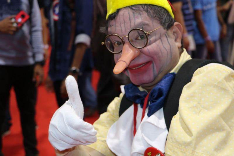 Oldest Cosplayer at Comic Con Bengaluru 2019 dressed as fictional character Pinocchio.