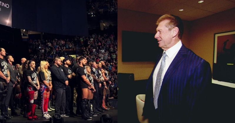 WWE Roster and Vince McMahon.