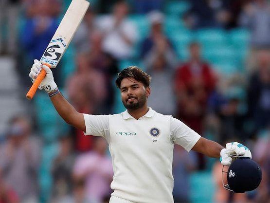 Rishabh Pant celebrates his ton against Australia.